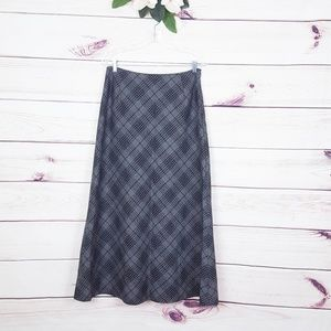 Eddie Bauer | Grey Black Plaid Wool Maxi Skirt 10